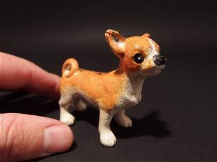 Primitive Miniature Cast Iron Dog Chihuahua