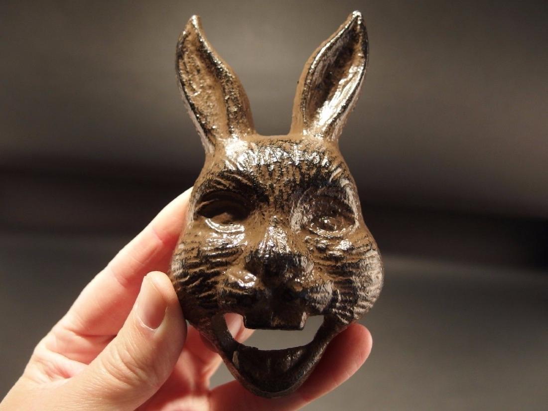 Cast Iron wall mount folk art Rabbit Beer Bottle Opener