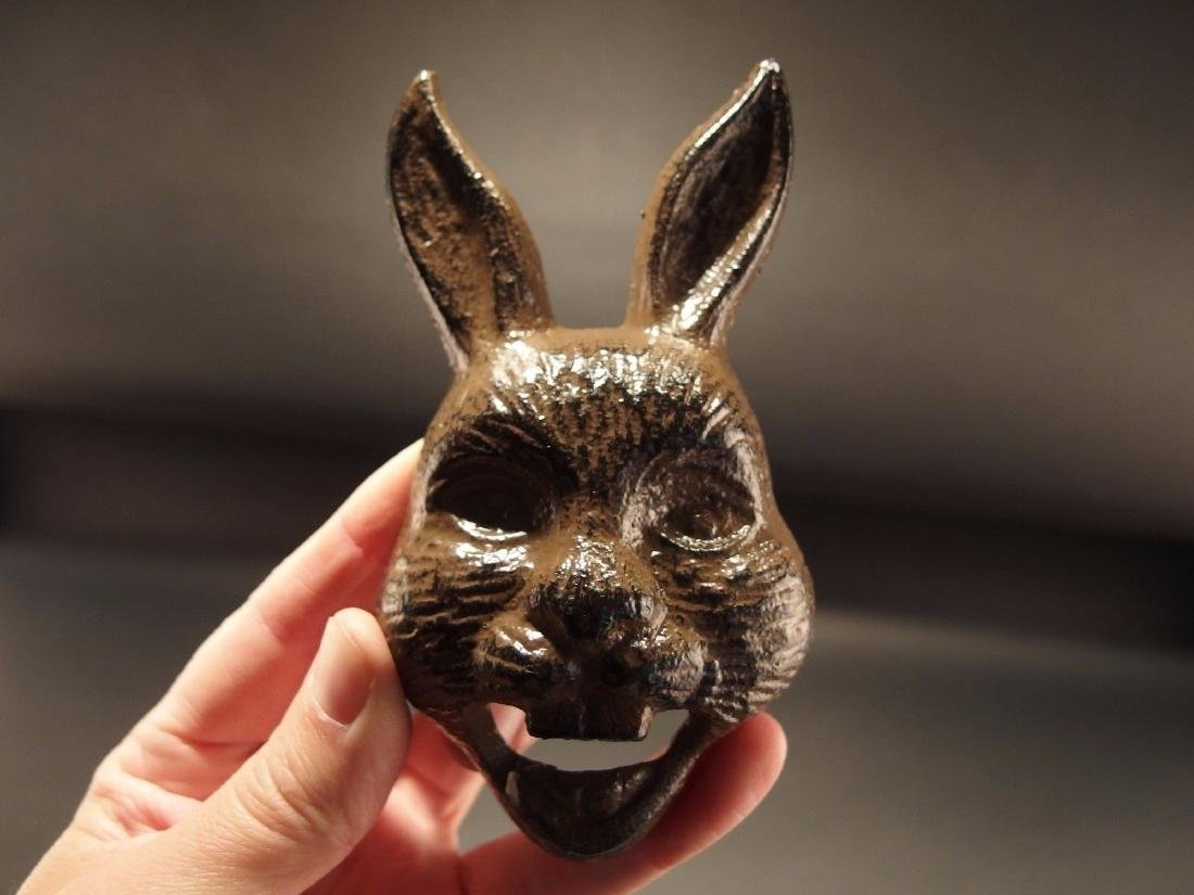 Cast Iron wall mount folk art Rabbit Beer Bottle Opener - 5