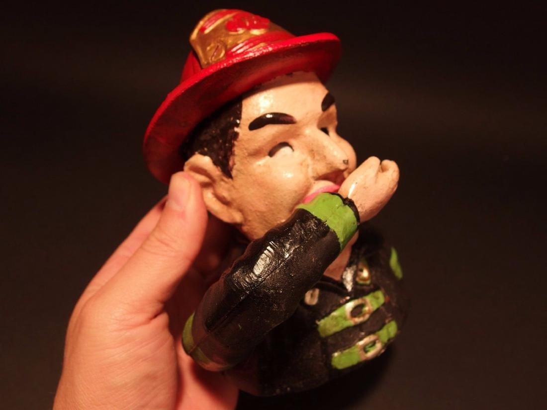 Fireman Fire Fighter Cast Iron Mechanical Coin Bank - 4