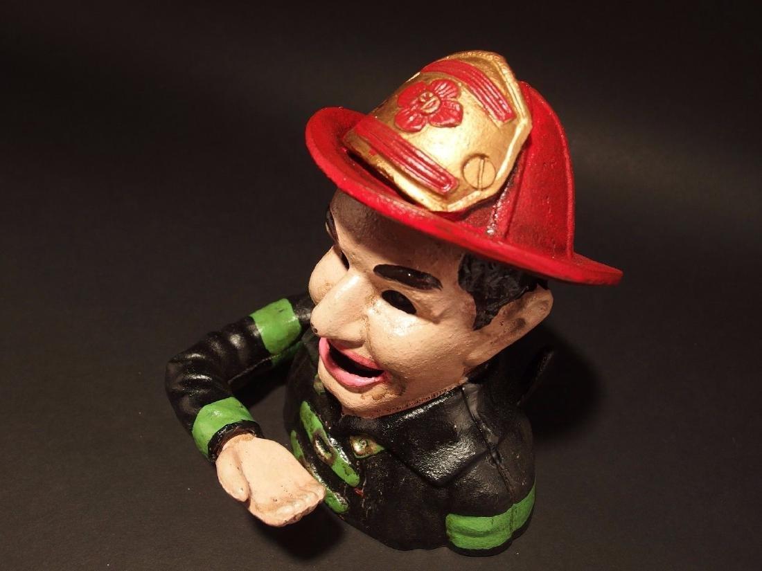 Fireman Fire Fighter Cast Iron Mechanical Coin Bank - 6