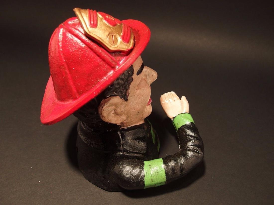 Fireman Fire Fighter Cast Iron Mechanical Coin Bank - 7