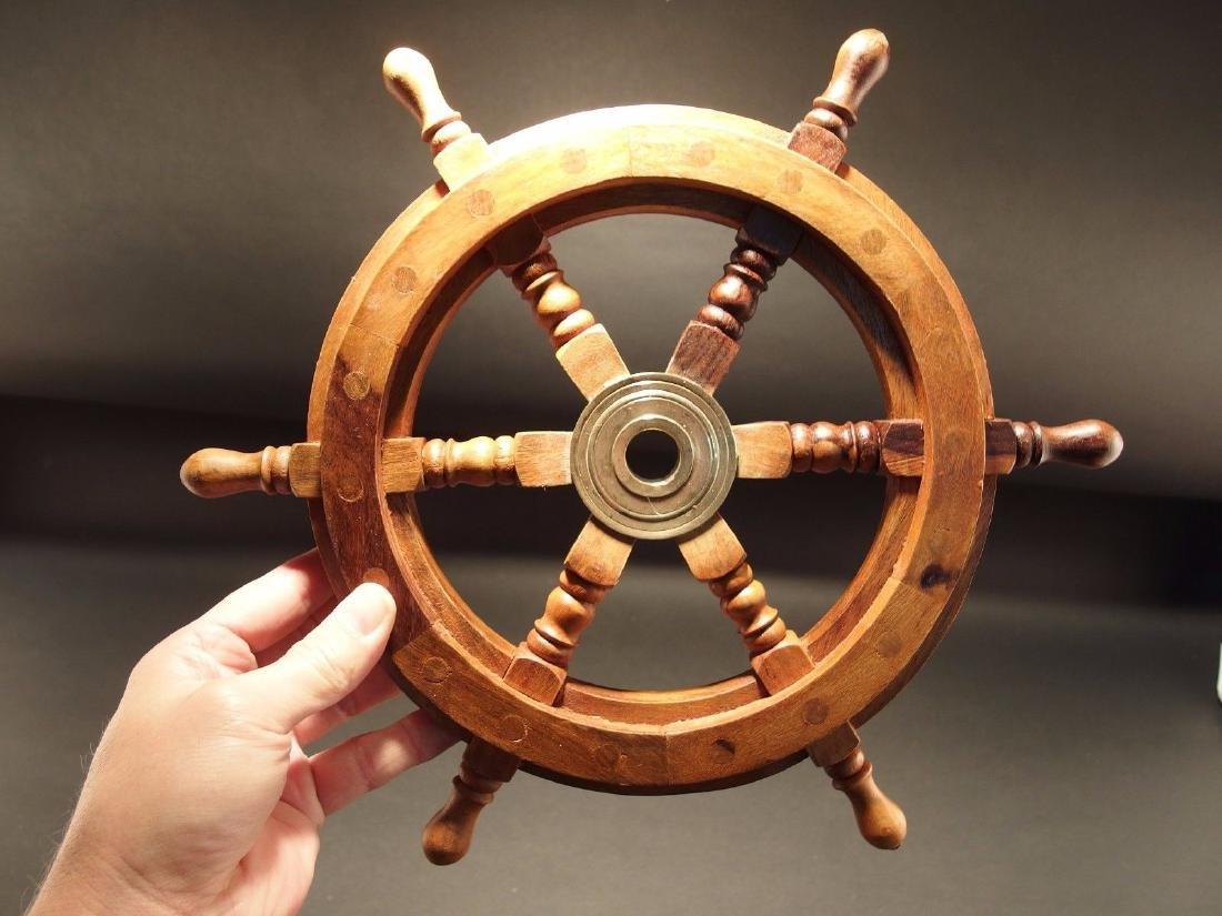"13""Wood Nautical Ships Helm Steering Wheel - 3"