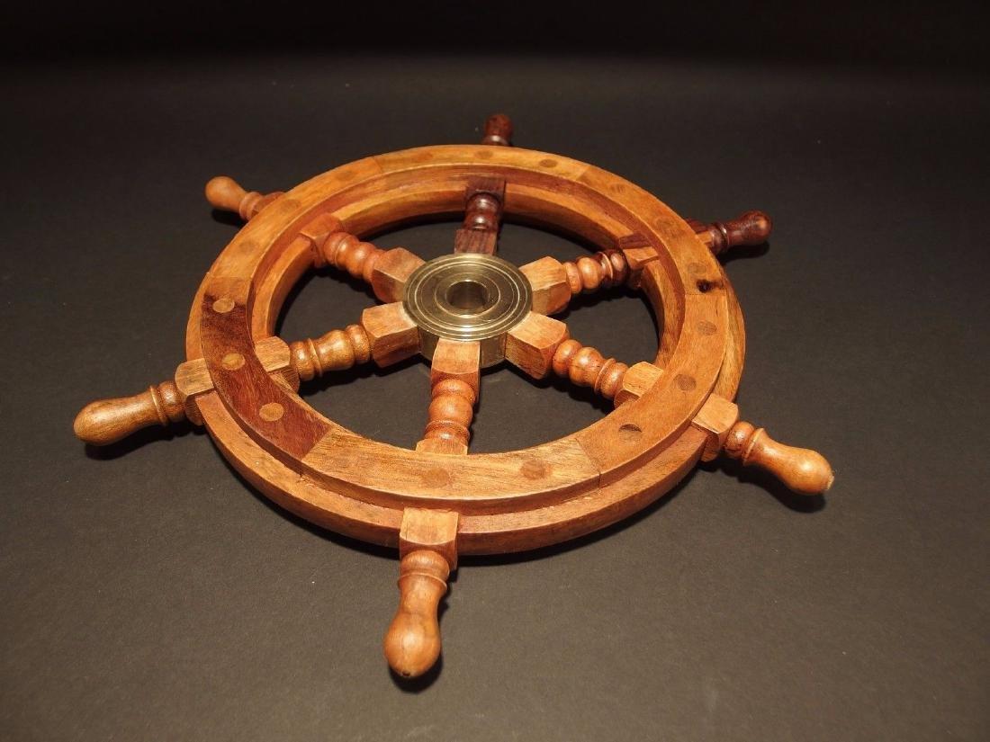 "13""Wood Nautical Ships Helm Steering Wheel - 4"