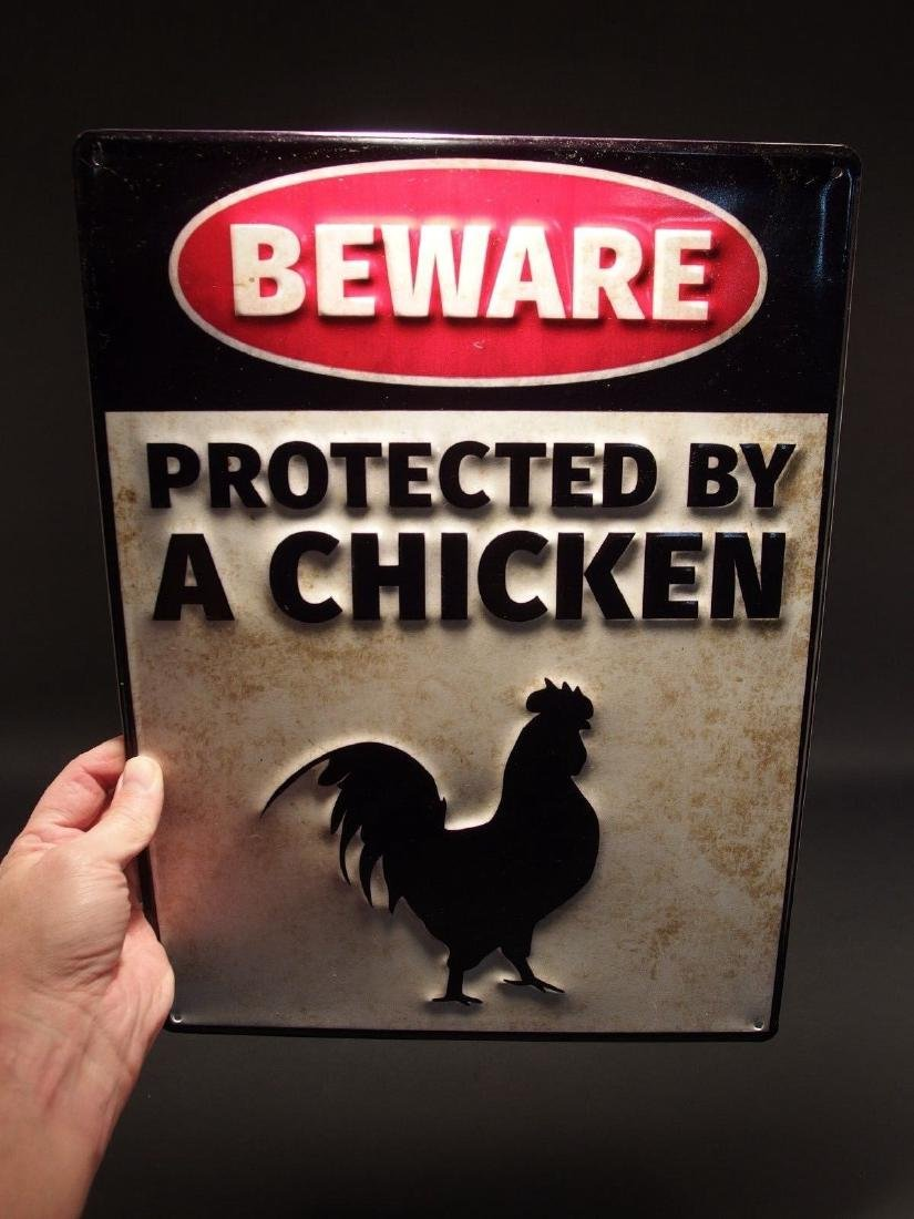 Beware Protected by Chickens Metal Sign