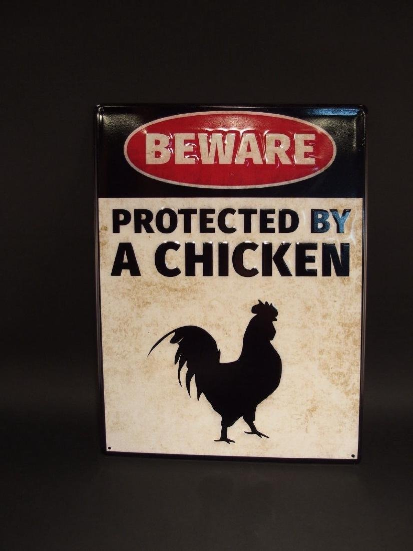 Beware Protected by Chickens Metal Sign - 2