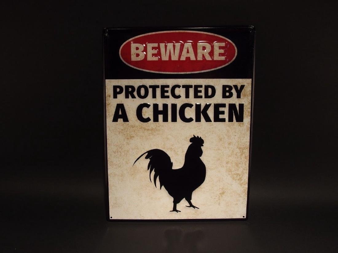 Beware Protected by Chickens Metal Sign - 5