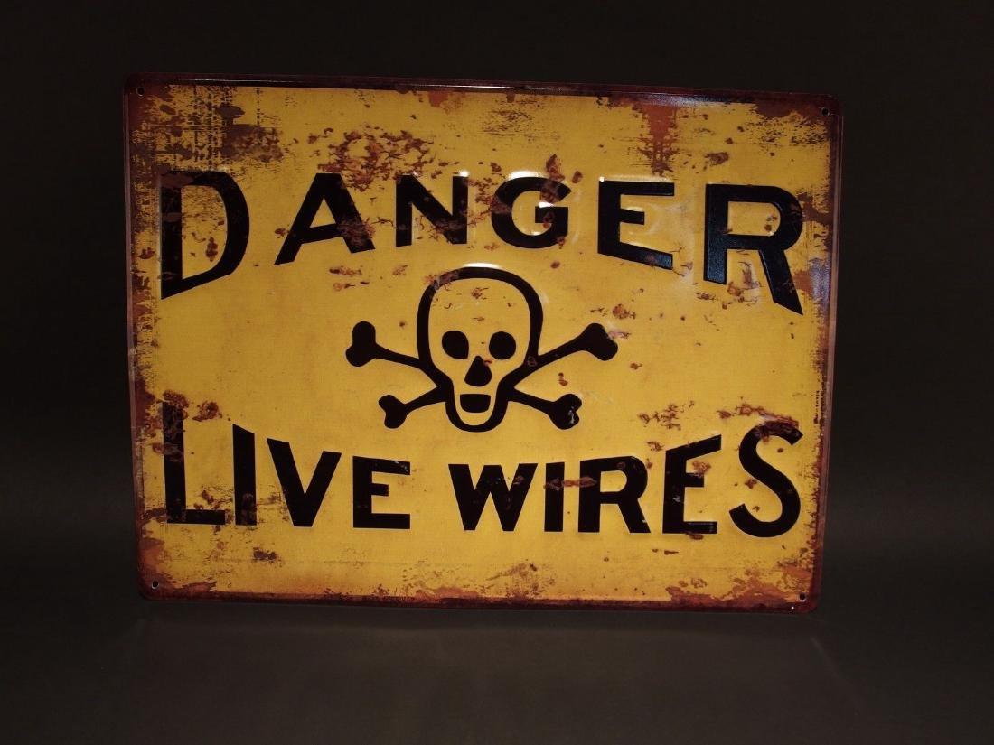 Danger Live Wires w Cross Bones Metal Sign