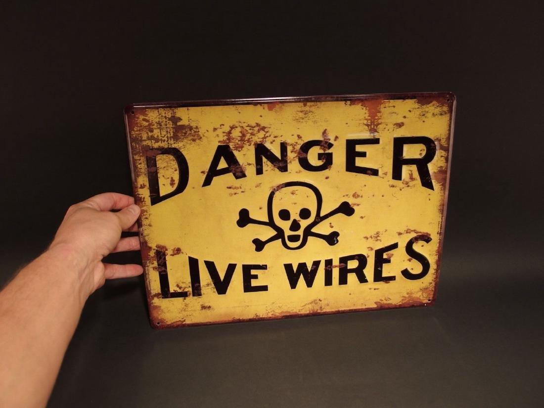 Danger Live Wires w Cross Bones Metal Sign - 2