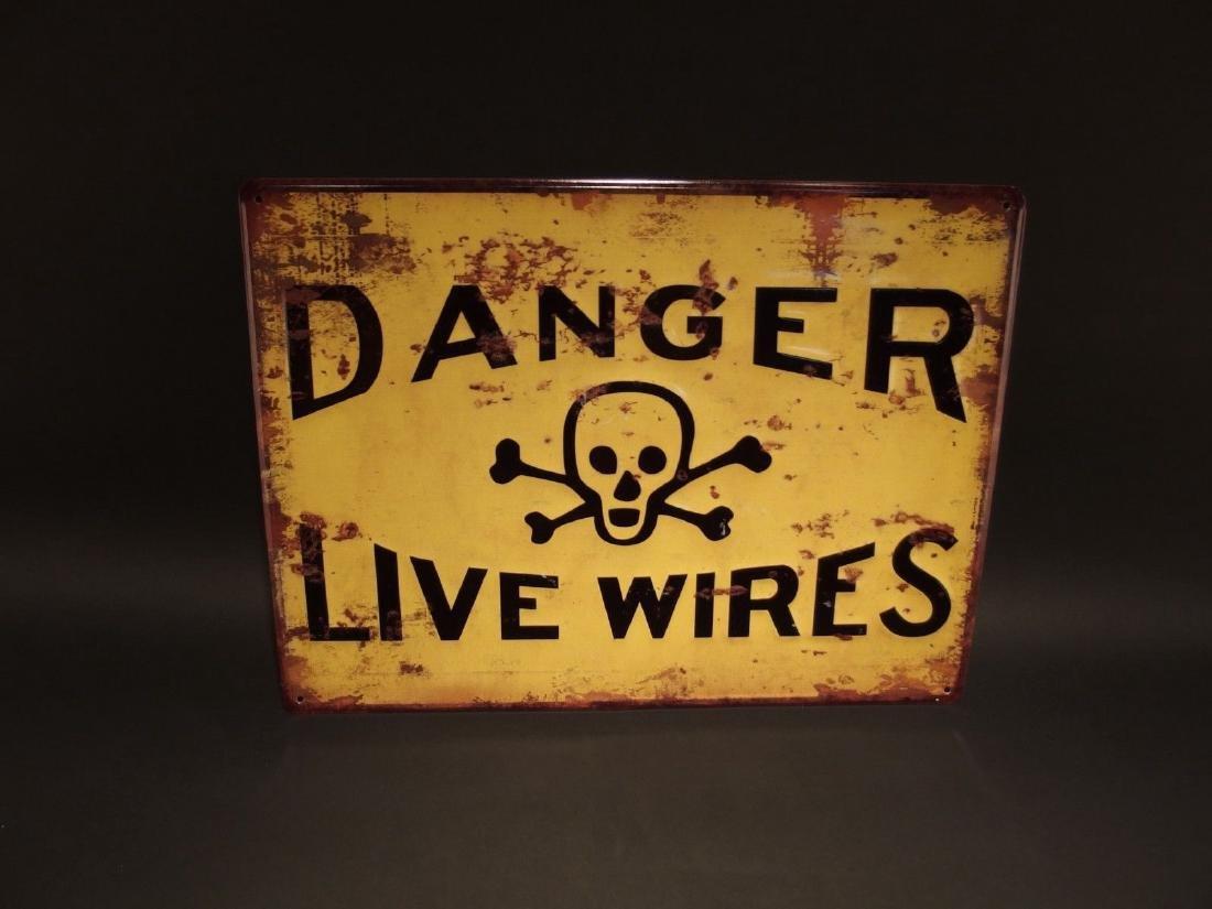 Danger Live Wires w Cross Bones Metal Sign - 3
