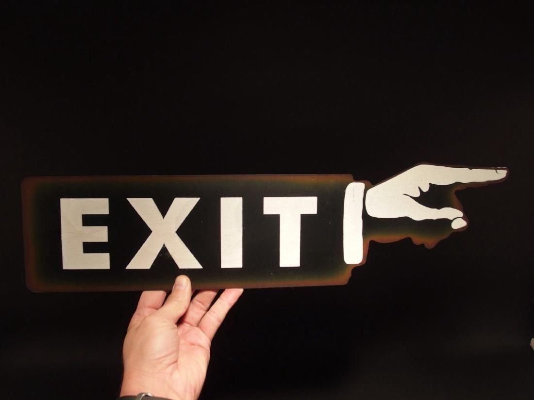 Exit Hand Pointing Metal Sign