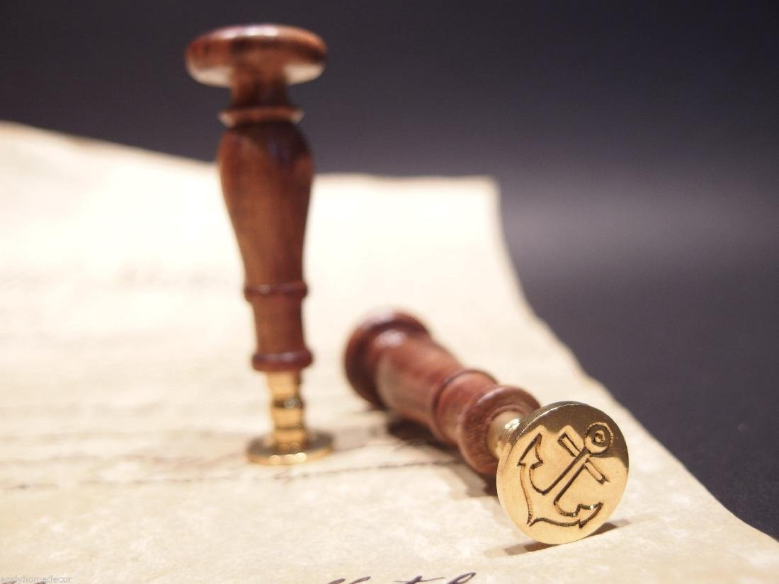 (1)Wax Seal Brass Letter Stamp Nautical Marine Anchor