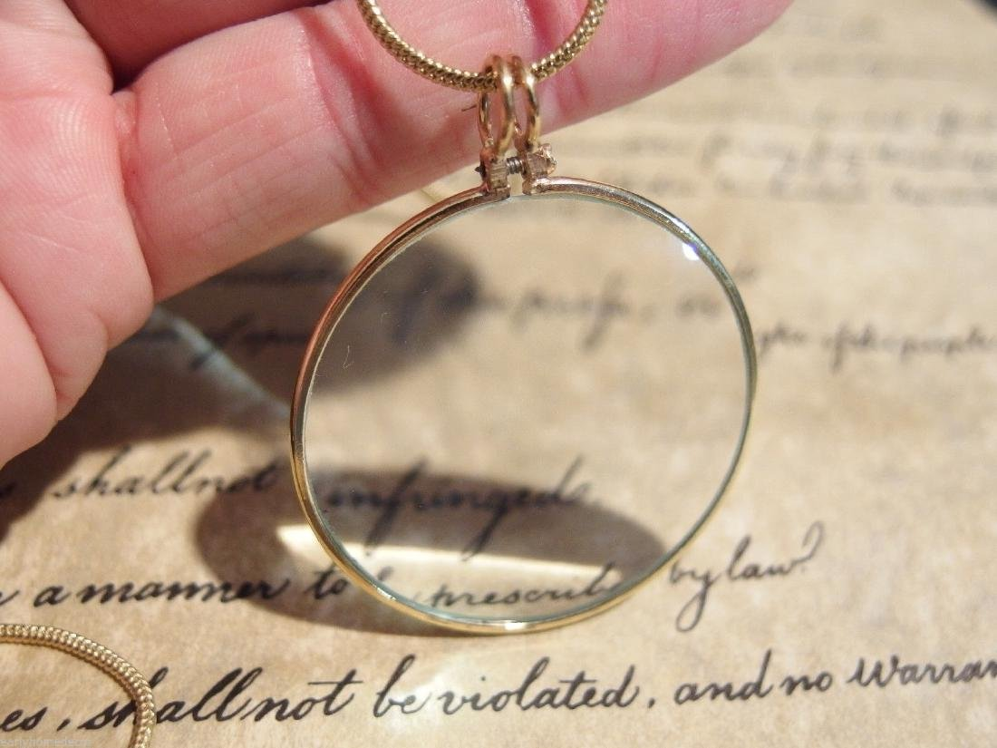 "1 3/4"" , Brass Magnifying Glass Pendant Necklace - 2"