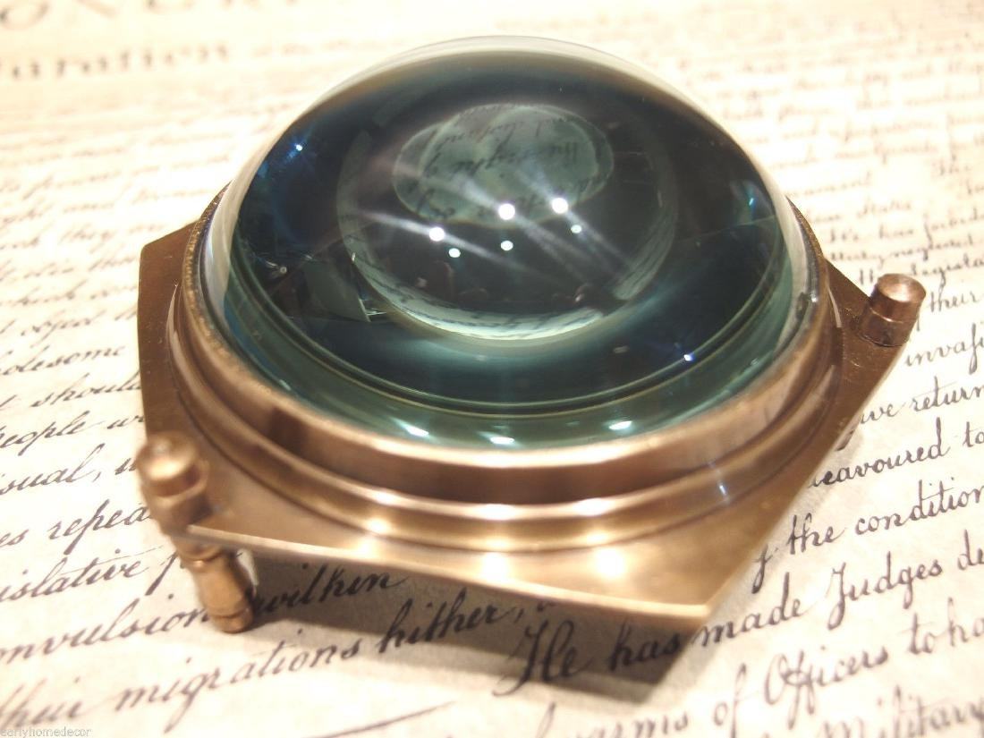 "4""Solid Brass Heavy Glass Magnifying Desk Lens"