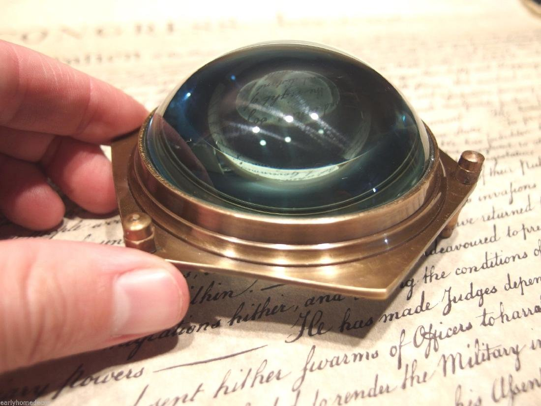 "4""Solid Brass Heavy Glass Magnifying Desk Lens - 2"