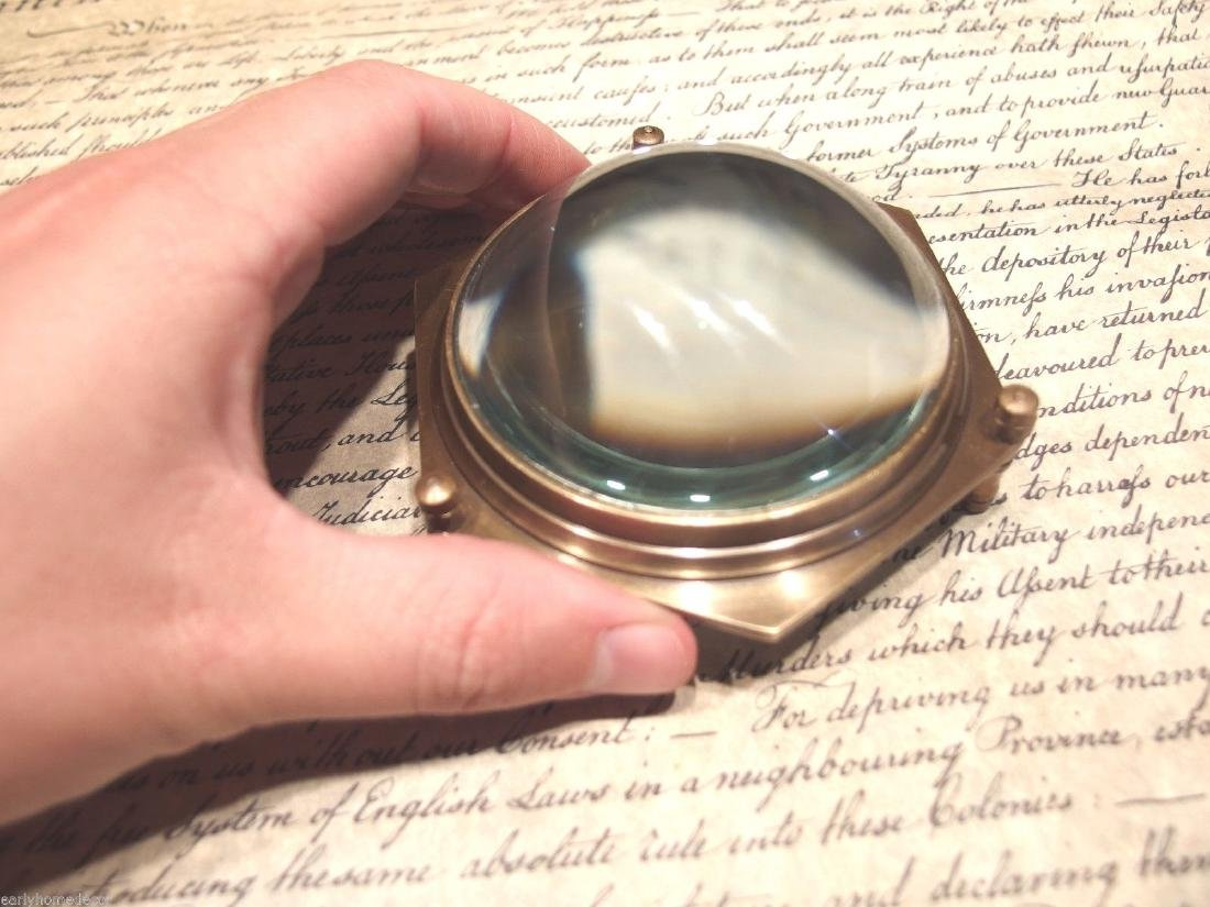 "4""Solid Brass Heavy Glass Magnifying Desk Lens - 4"