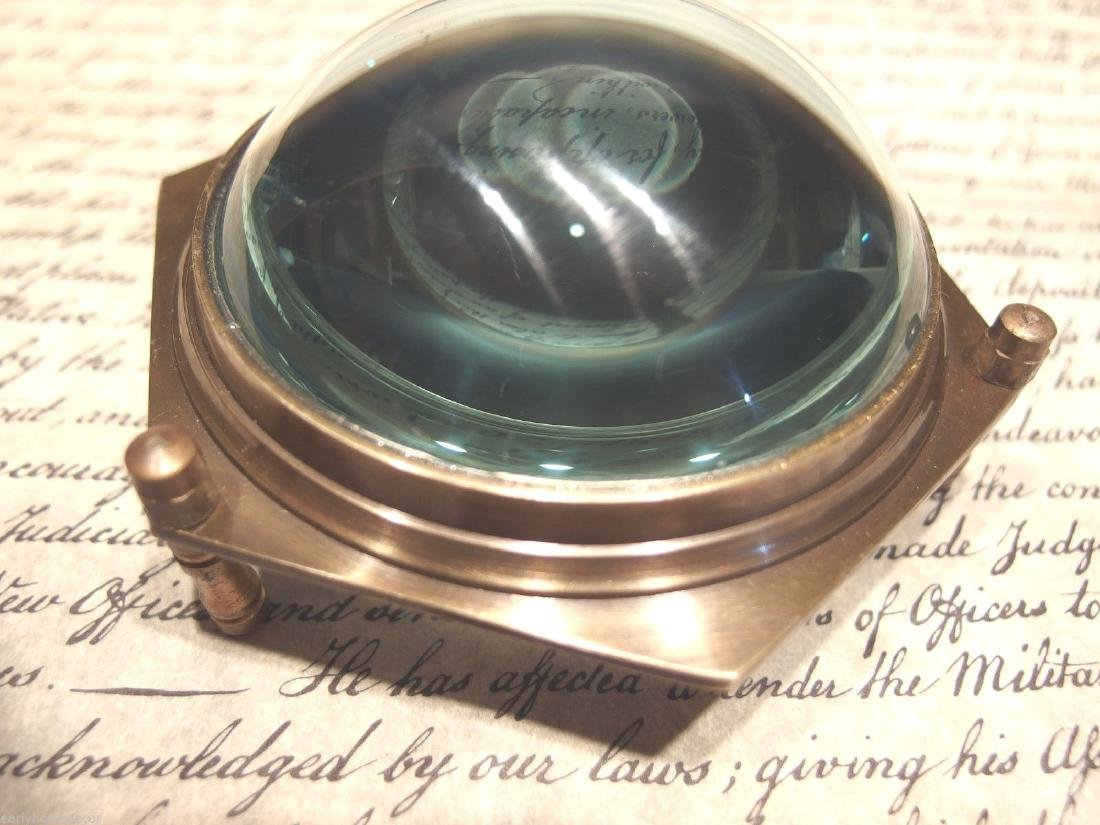 "4""Solid Brass Heavy Glass Magnifying Desk Lens - 8"