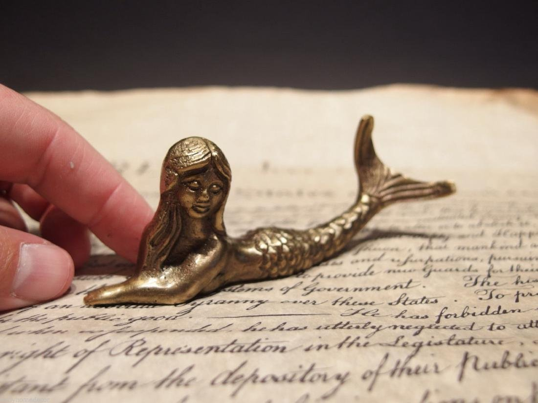 "5""Brass Nautical Mermaid Paperweight Desk Figure"