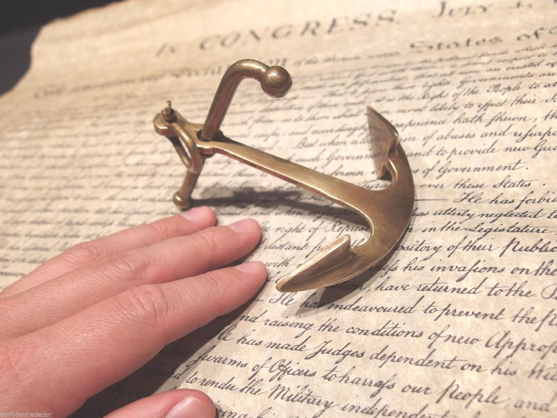 """5""""Brass Nautical Ships Boat Anchor Paperweight Desk - 4"""