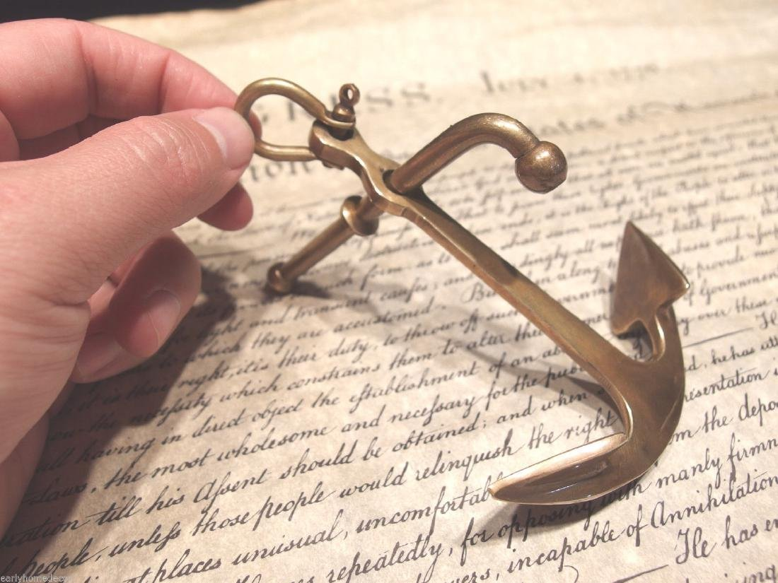 """5""""Brass Nautical Ships Boat Anchor Paperweight Desk - 8"""