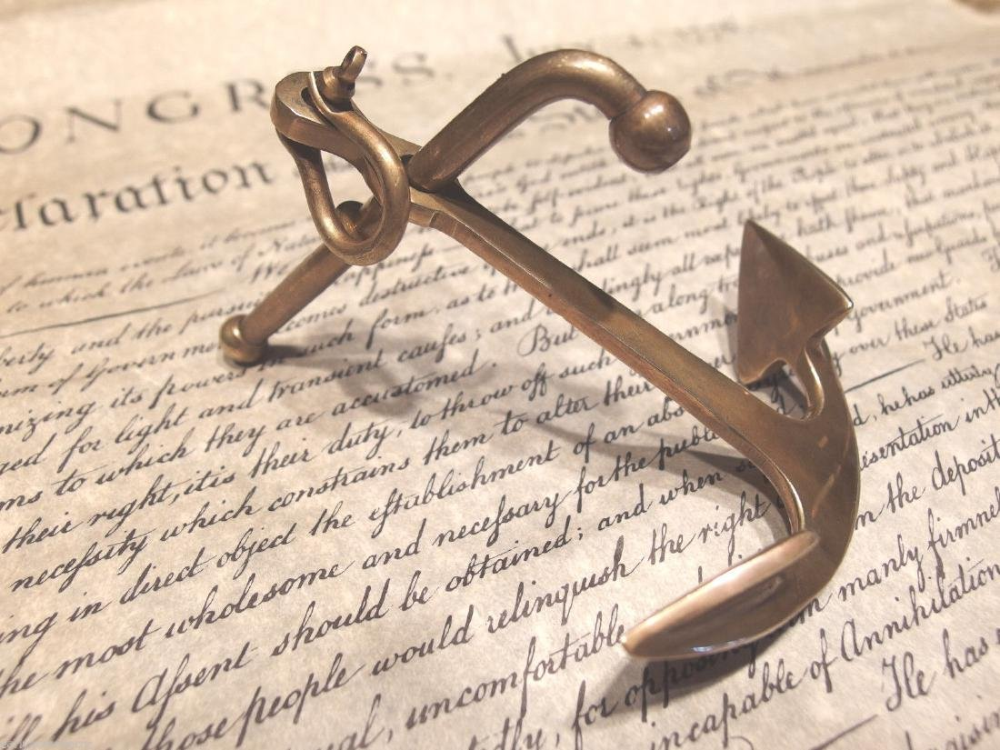 """5""""Brass Nautical Ships Boat Anchor Paperweight Desk - 9"""