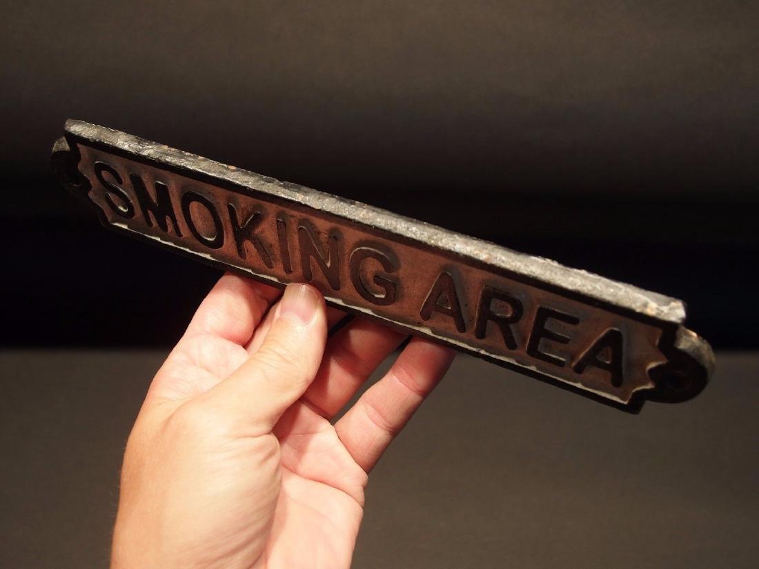 Cast Iron Smoking Area Plaque Sign - 3