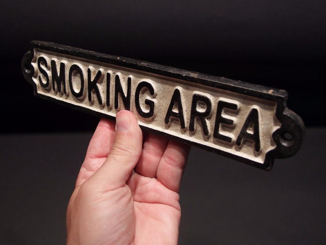 Cast Iron Smoking Area Plaque Sign - 5