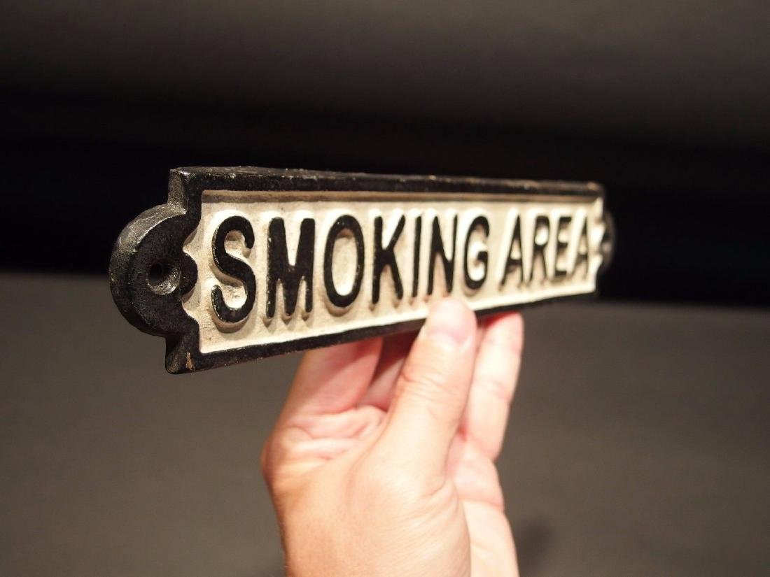 Cast Iron Smoking Area Plaque Sign - 6