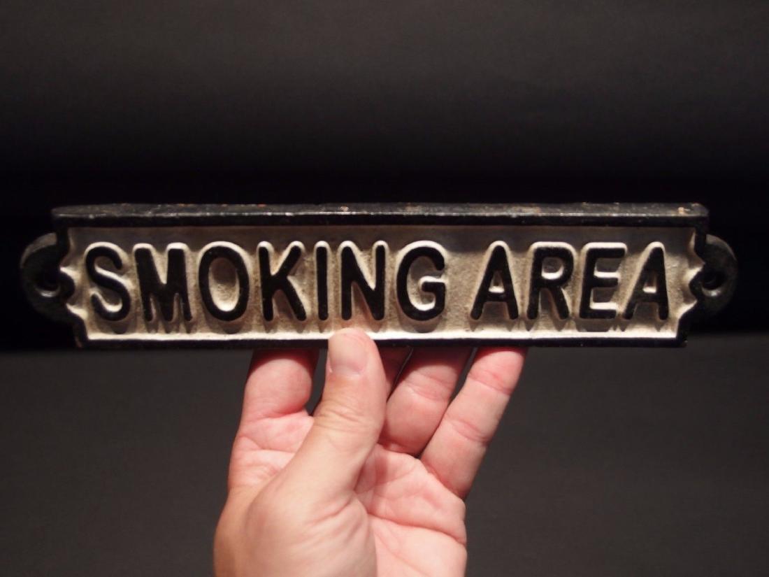 Cast Iron Smoking Area Plaque Sign - 7
