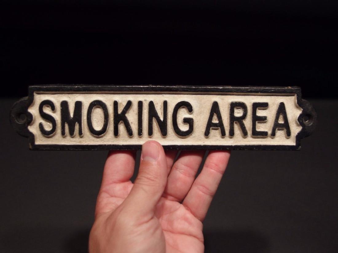 Cast Iron Smoking Area Plaque Sign - 8