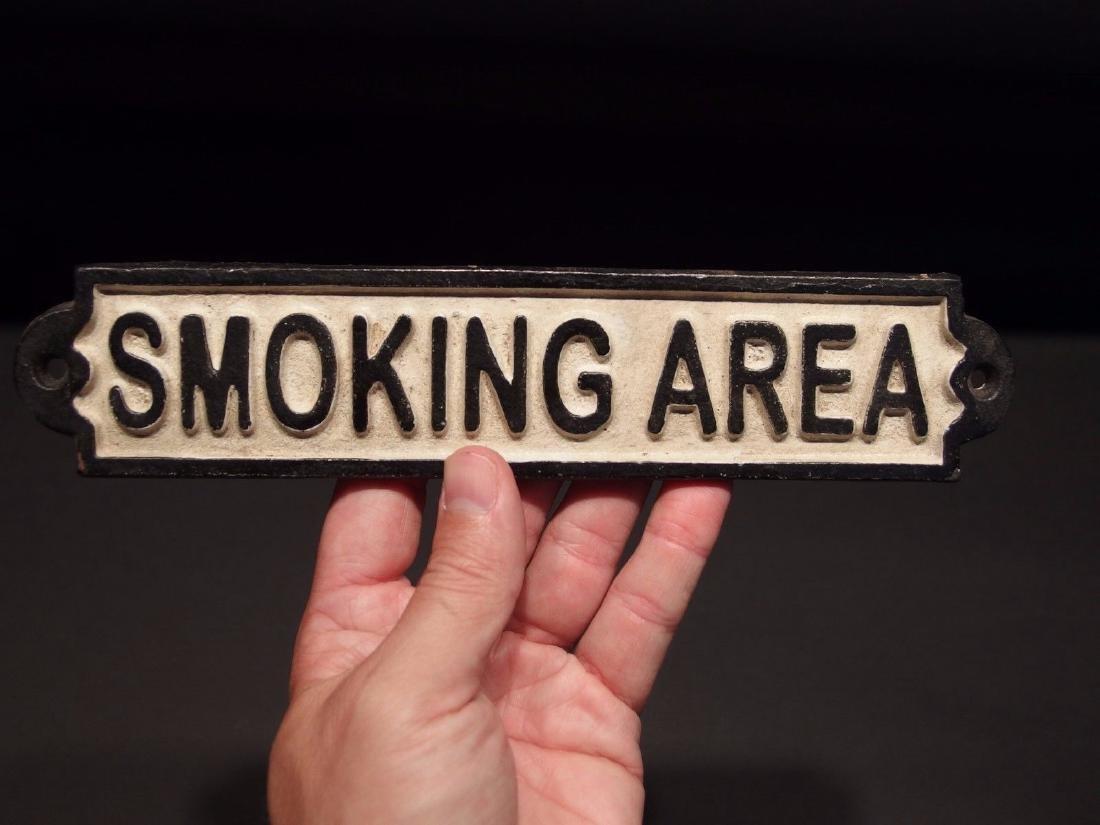 Cast Iron Smoking Area Plaque Sign - 9