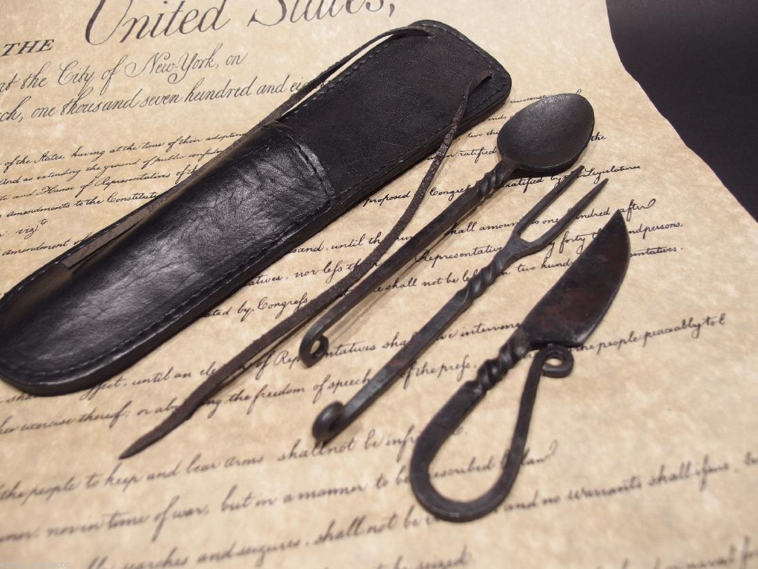 Flint StrikerCustom Forged Primitive Knife Utensil Set - 2
