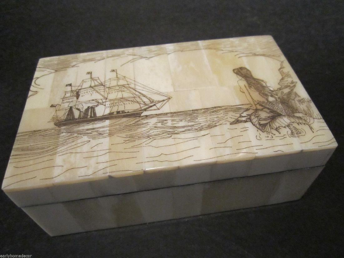 Folk Art Mermaid Scrimshaw Etched Bone & Wood Trinket
