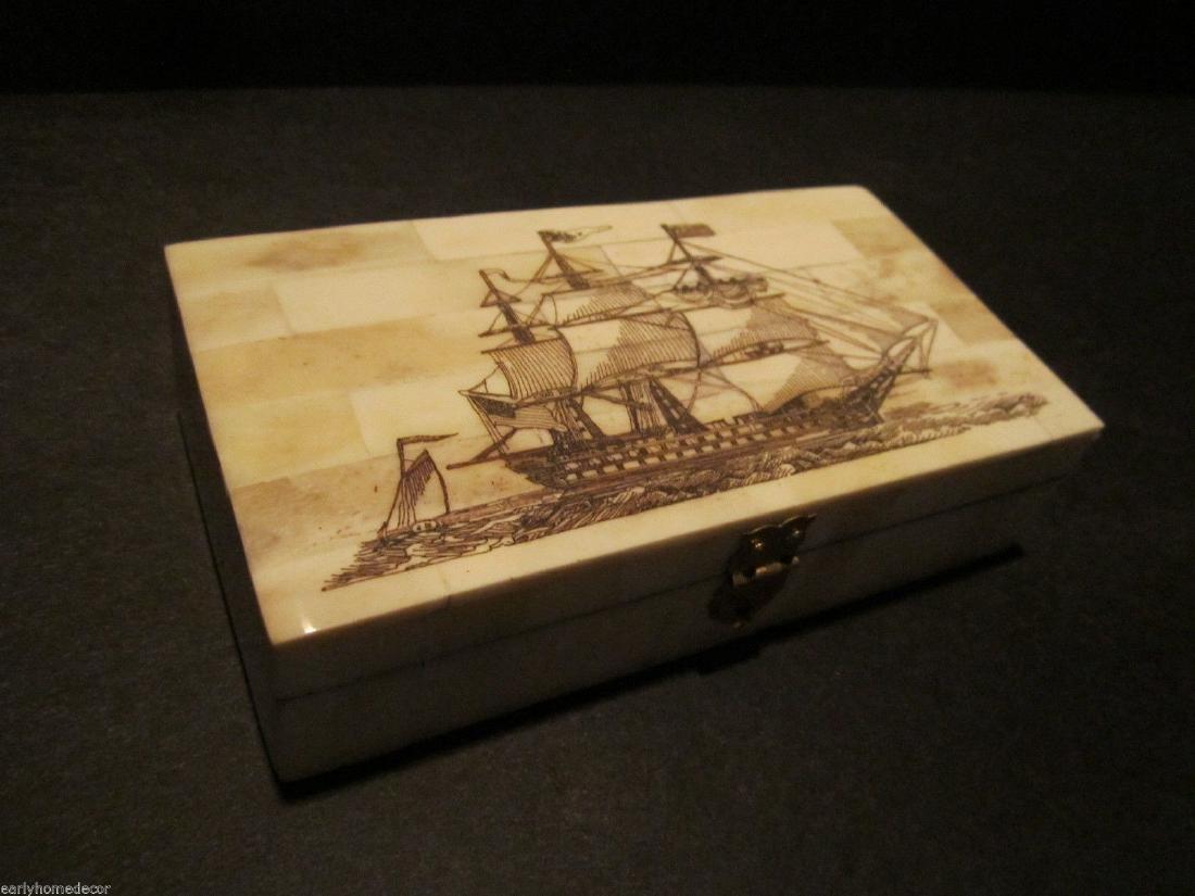 Folk Art Sail Ship Scrimshaw Etched Bone & Wood Trinket - 5