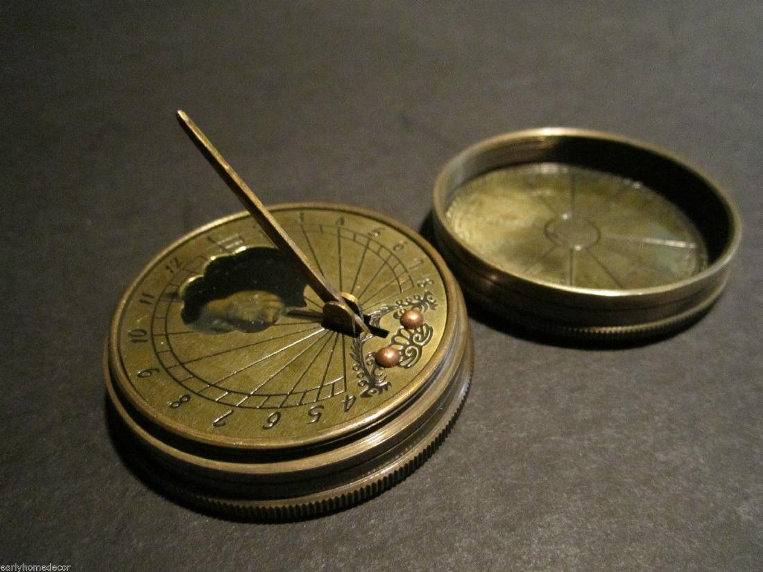 Solid Brass Timekeeping Sundial with Top Pocket Compass