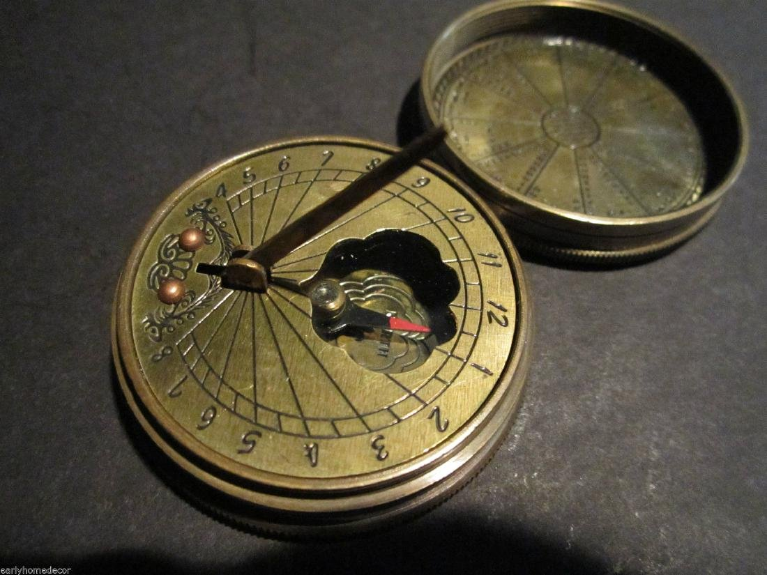 Solid Brass Timekeeping Sundial with Top Pocket Compass - 2