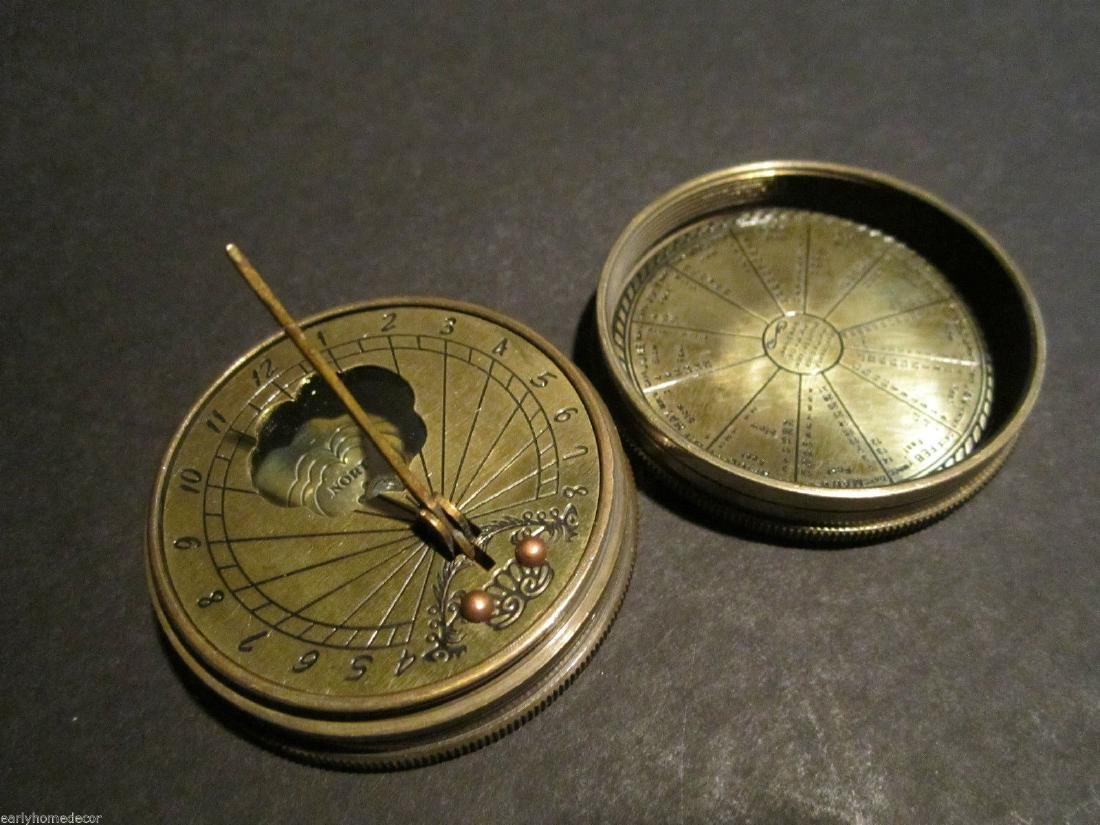 Solid Brass Timekeeping Sundial with Top Pocket Compass - 4