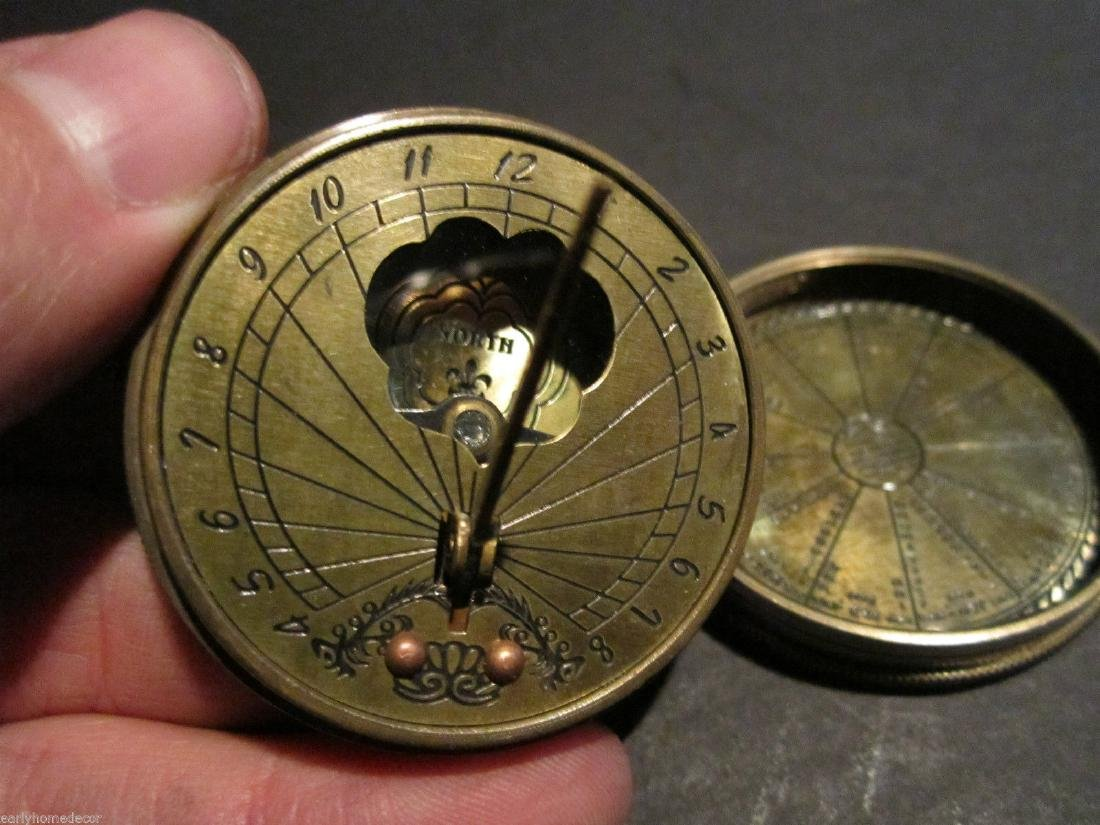 Solid Brass Timekeeping Sundial with Top Pocket Compass - 5