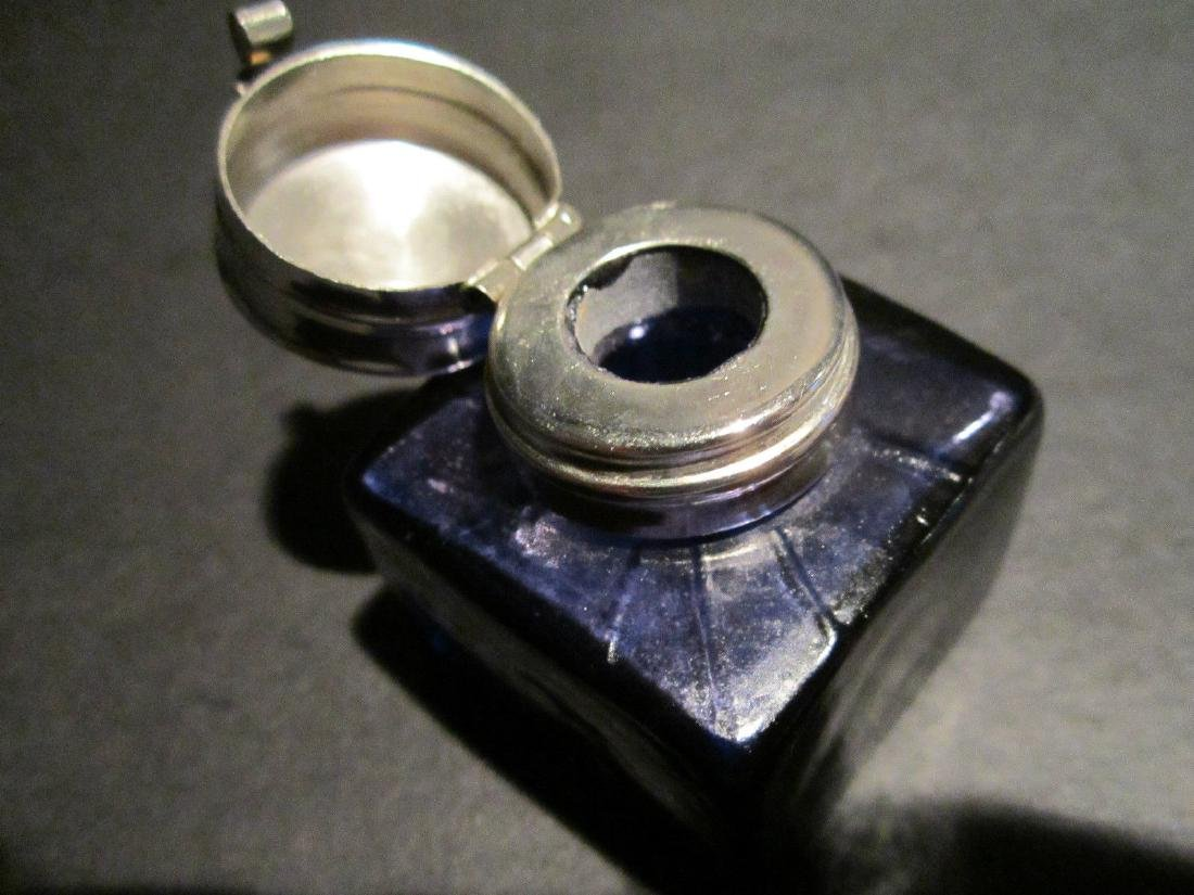Solid Thick Glass Square Cobalt Blue Inkwell Ink pot - 6