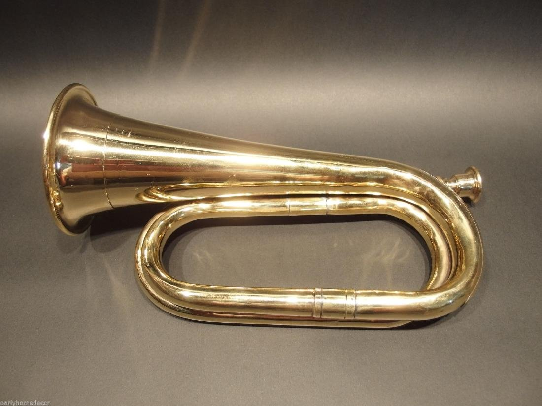 US Military Civil War Brass Bugle Horn - 4