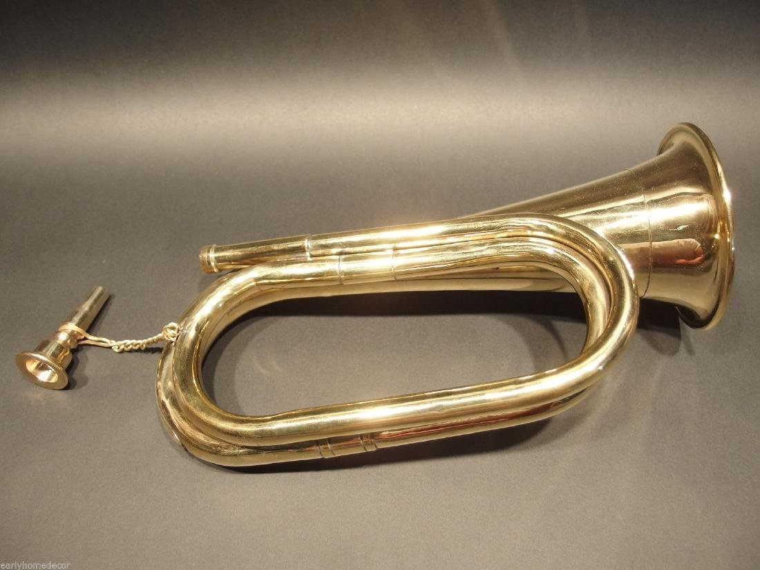 US Military Civil War Brass Bugle Horn - 5