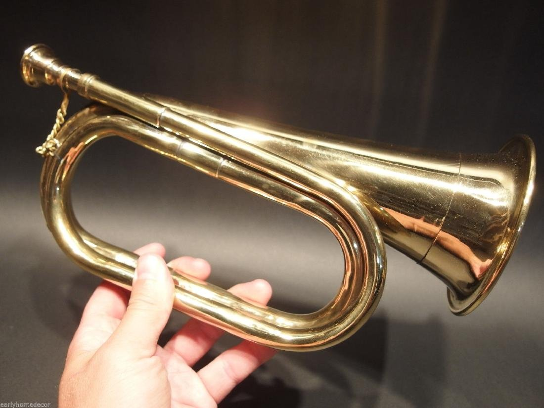 US Military Civil War Brass Bugle Horn - 7