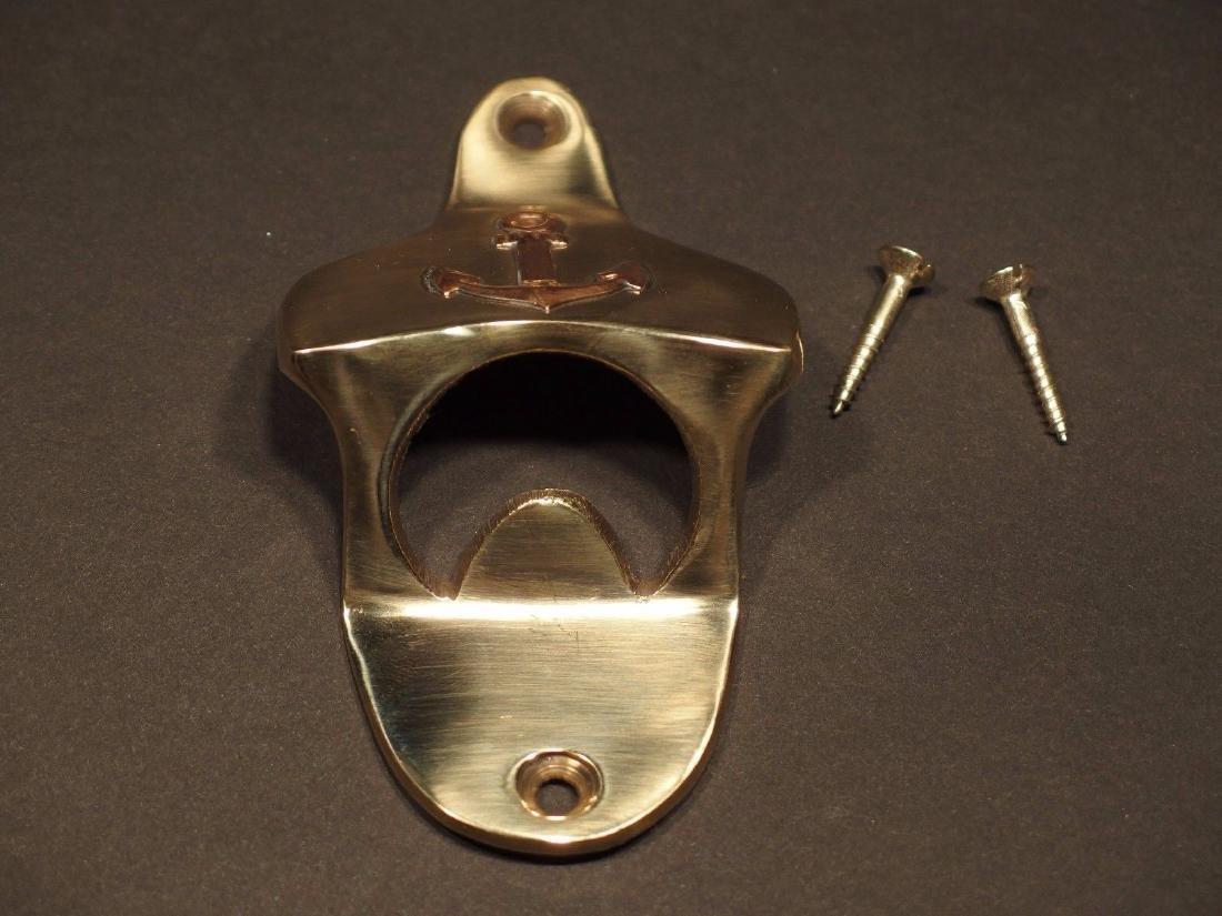 Beer Bottle Cap Opener Solid Brass w Anchor - 7