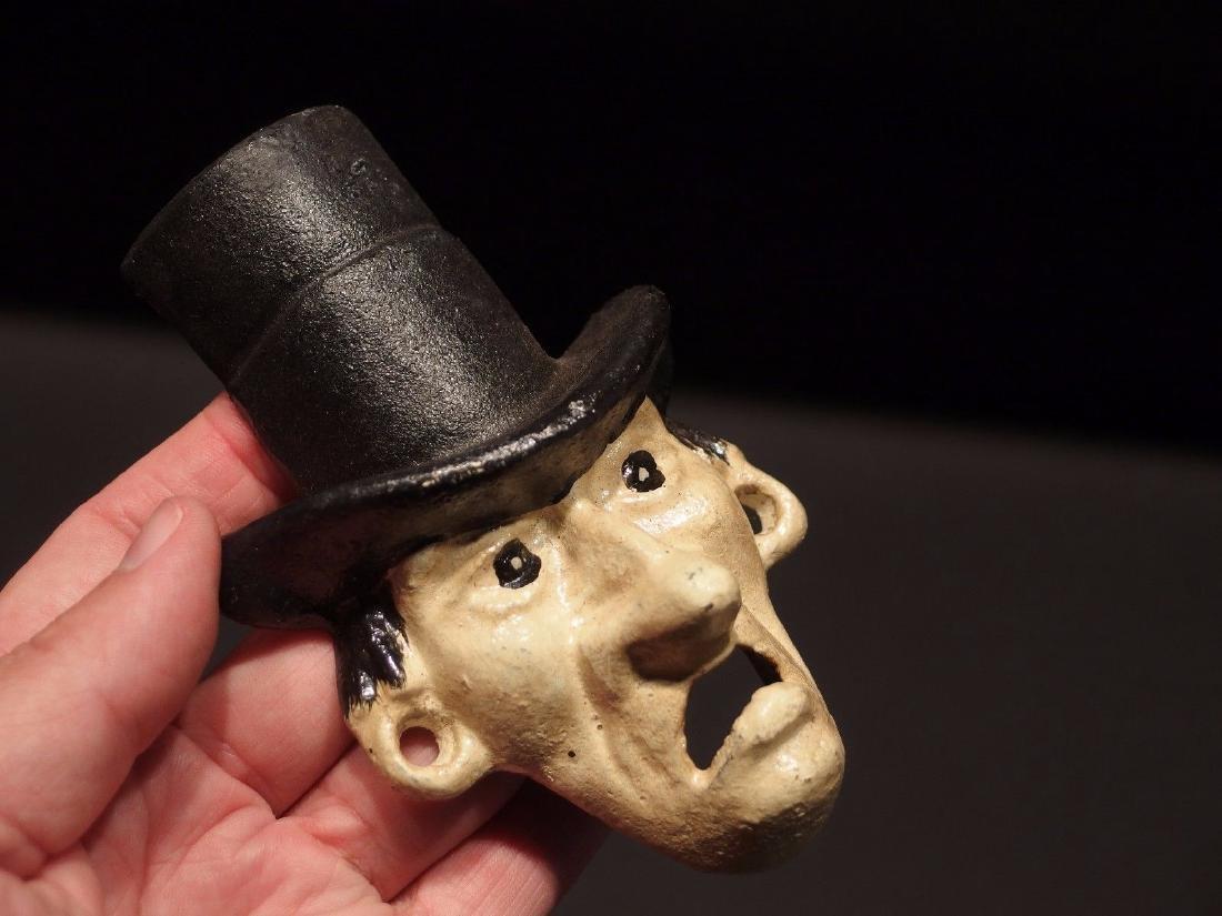 Cast Iron Abe Lincoln Folk Art Figural Beer Bottle - 10