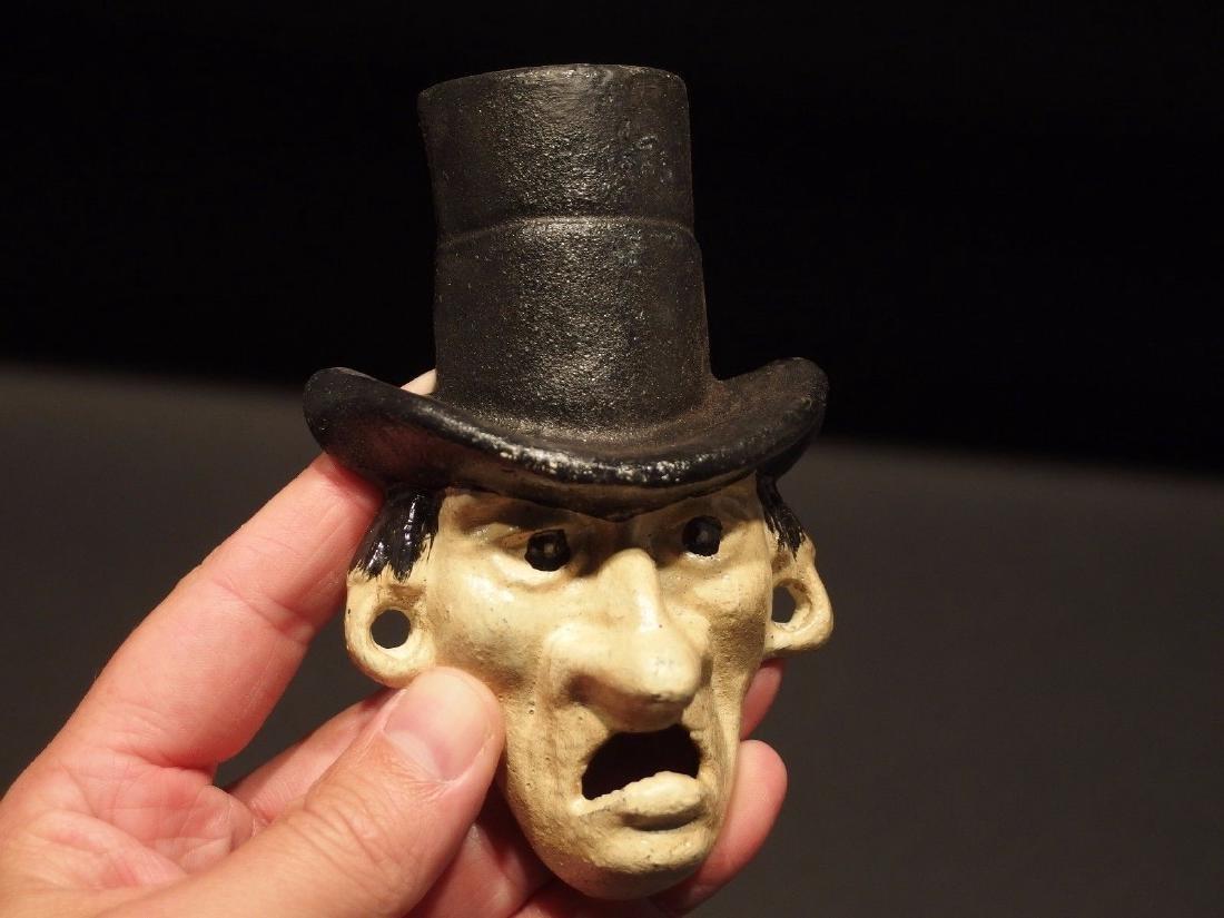 Cast Iron Abe Lincoln Folk Art Figural Beer Bottle