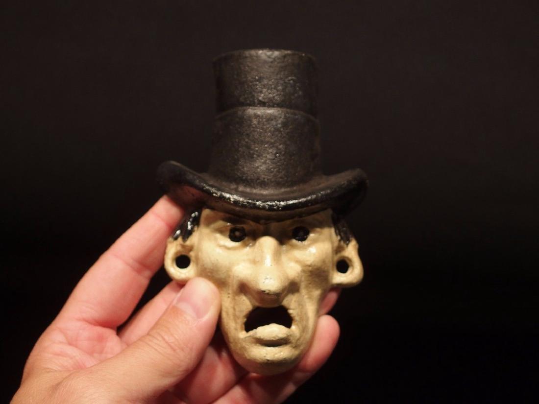 Cast Iron Abe Lincoln Folk Art Figural Beer Bottle - 2