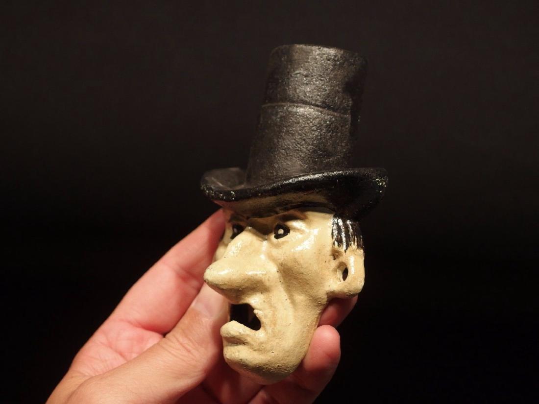 Cast Iron Abe Lincoln Folk Art Figural Beer Bottle - 3