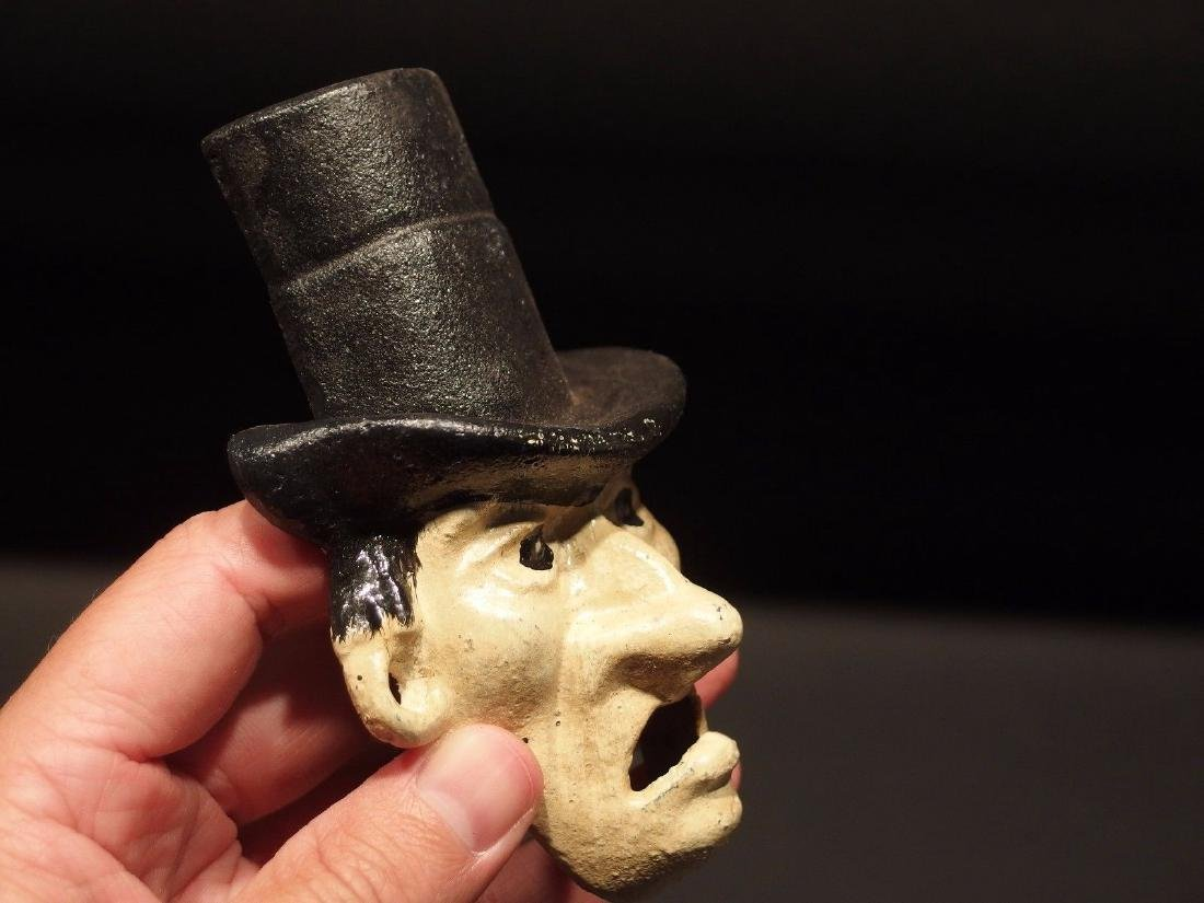 Cast Iron Abe Lincoln Folk Art Figural Beer Bottle - 5