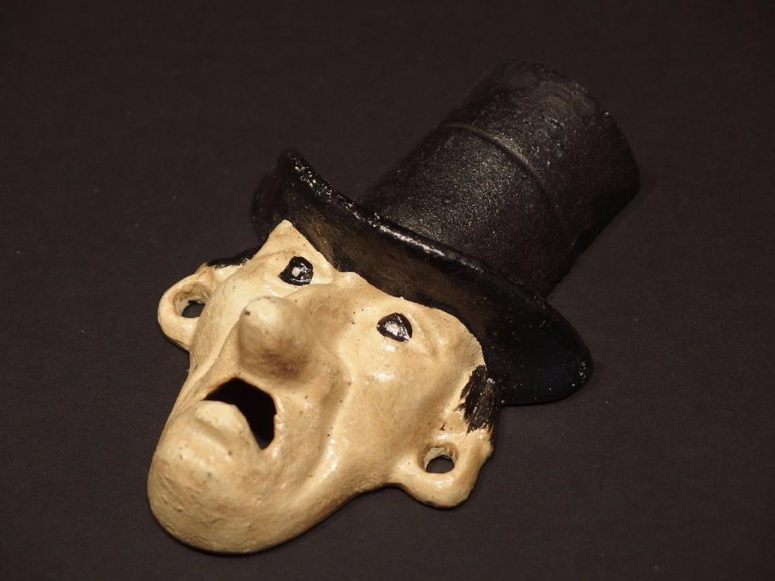 Cast Iron Abe Lincoln Folk Art Figural Beer Bottle - 6