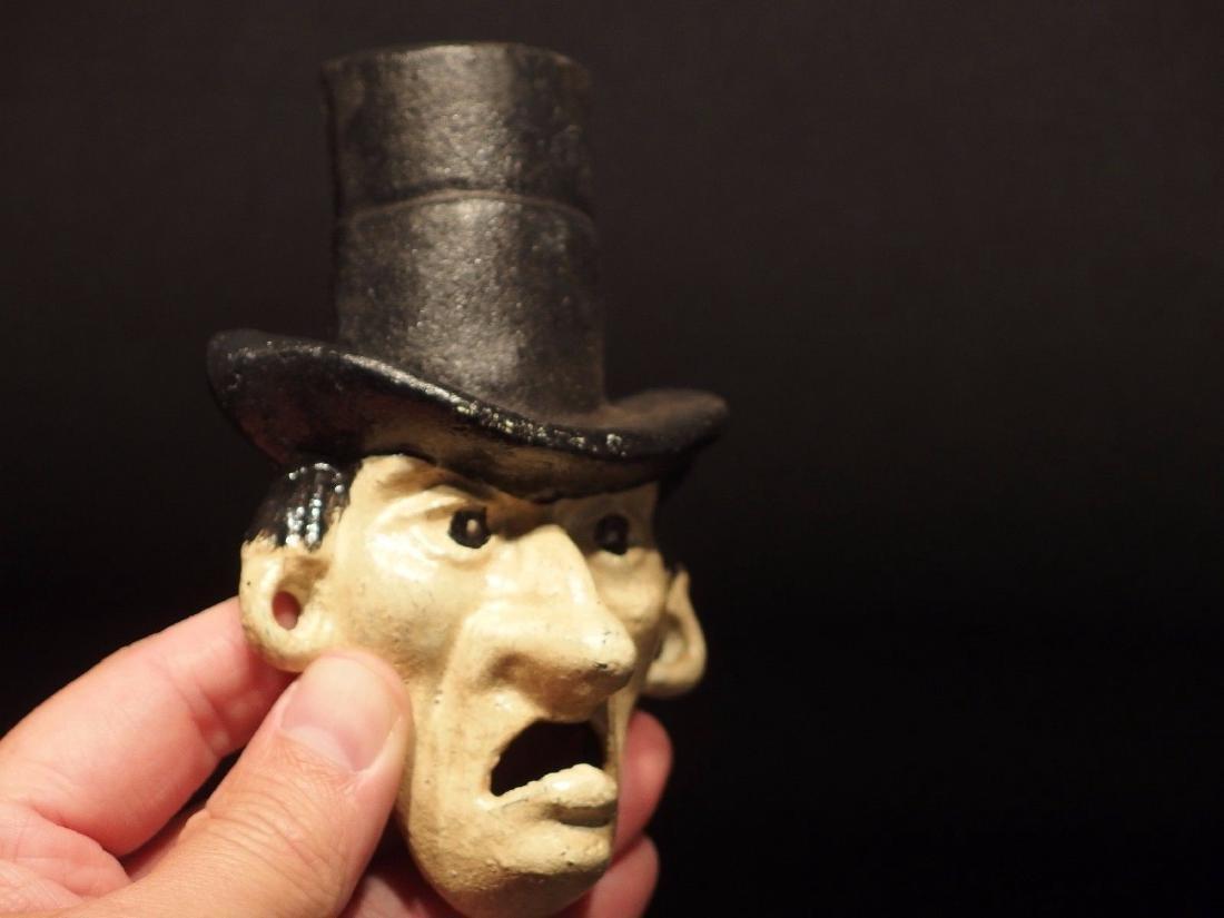 Cast Iron Abe Lincoln Folk Art Figural Beer Bottle - 7